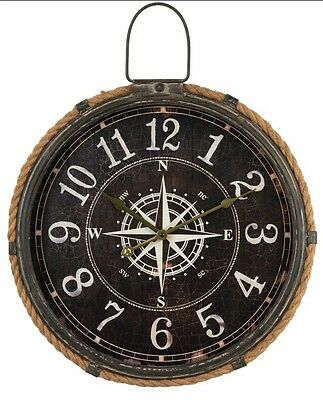 Large Compass ROPE Nautical Wall Clock 47cm