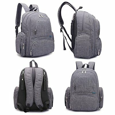 Diaper Bag Backpack With Changing Pad Large Baby Accessories Travel Bag Grey NEW