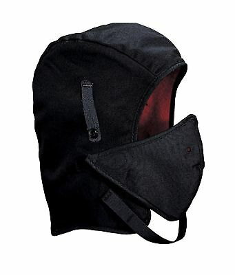 Mutual WL4-250V Hard Hat Winter Liner Twill Long Nape with Mouthpiece, Black