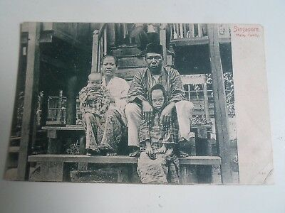 Old Postcard SINGAPORE - Malay Family Straits Settlements      §A1629
