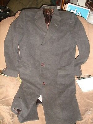 Berwin for Harrods 100% Cashmere black dark gray long coat great made in England