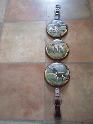 Unusual Vintage Leather Strap Wall Hanging+Sylvac Pottery Spaniels+Pointer Dogs