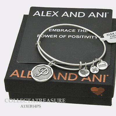 Authentic Alex and Ani Initial P Rafaelian Silver Charm Bangle