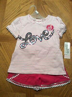 """FLAPDOODLES - Girls Pink/White Striped Tshirt  """"LOVE"""" and pink shorts -- NWT"""