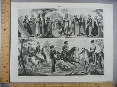 Rare Antique Original Vintage 1850's Soldiers War Military Engraving Art Print