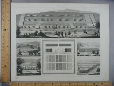 Rare Antique Original VTG 1850's Architecture Arena Diagrams Engraving Art Print