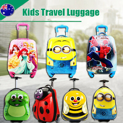 Kids Hard Shell Travel Suitcase Cabin Holiday Trolley 2/4 Wheel Luggage Bag