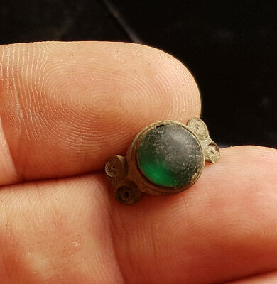 Ancient Late Roman Bronze Ring Fragment With Green Stone 300-400 AD  #GY7