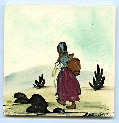 1950's Aust Pottery Hand Painted Martin Boyd Tile African Water Carrier C44
