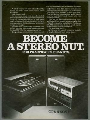1976 Sony SHP-70 Component Stereo Audio Hi-Fi Turntable Nut Vintage Print Ad 70s
