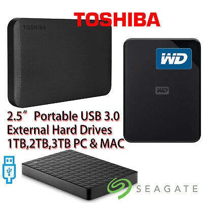 "TOSHIBA WD SEAGATE 1TB 2TB 2.5"" Portable External Hard Disk Drives USB 3.0 MAC T"