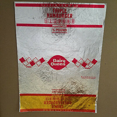 Vintage 1980 Dairy Queen Triple Hamburger / Cheeseburger Wrap