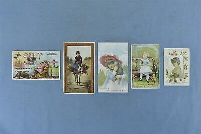 Antique LOT 5 ADVERTISING VICTORIAN TRADE CARD SEWING MACHINES DOMESTIC + #05009