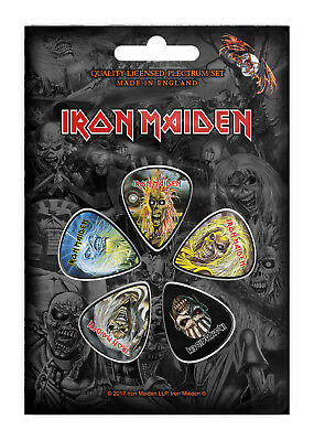 Iron Maiden Faces Of Eddie Guitar Pick 5 Pack Official Plectrum Picks Set