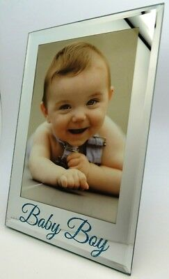 Baby Boy Photo Frame Silver Glass Frame with Blue Glitter Newborn Keepsake Gift