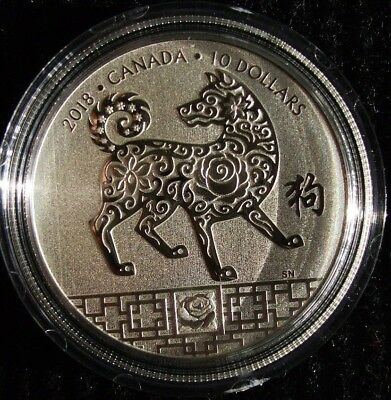 CANADA 1/2 oz Fine .999 Silver Coin - $10 Chinese New Year of the Dog 2018