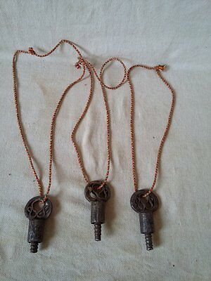 Lot of 3 Antique Vintage Skeleton Barrel Iron Keys,Padlocks,#623