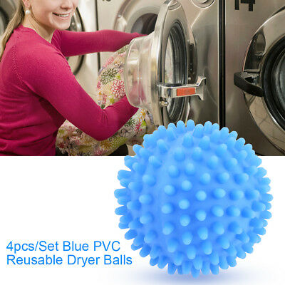 4x Blue PVC Reusable Dryer Balls Laundry Washing Drying Fabric Softener Ball GL