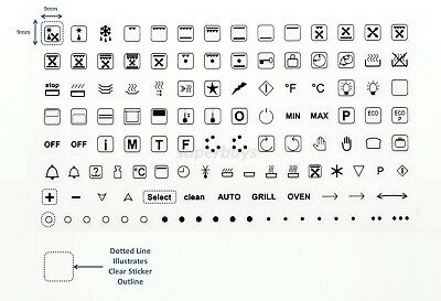 119 Separate Oven Symbols Adhesive Knob Sticker Label Decal For Stove Cooker Hob