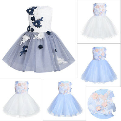 3D Flower Girl Dress Kids Tutu Pageant Party Wedding Princess Birthday Dresses