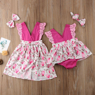 US Stock Newborn Kids Baby Girl Sister Matching Lace Floral Romper Dress Outfits