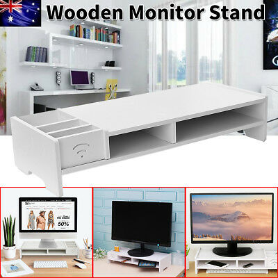 2 Layer Wooden Monitor Stand LCD Computer Monitor Riser Desktop Display Bracket