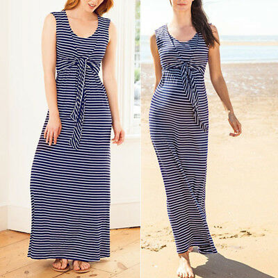 Summer Baby Clothes Breastfeeding Nursing For Pregnant Women Striped Long Dress