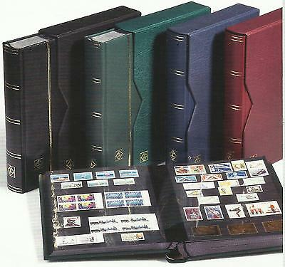 Lighthouse Premium Stamp Album & Slipcase 32 Black Pages 64 Sides Blue Colour