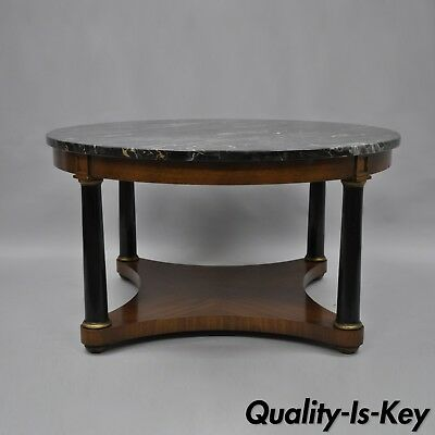 Antique Round Marble Top Empire Style Coffee Table Mahogany