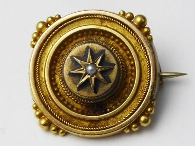 Antique Victorian 18ct Yellow Gold & Pearl Target Brooch