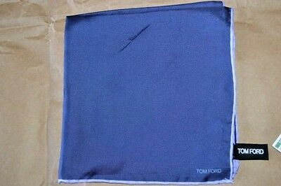 $145 NWOT TOM FORD Navy Lilac hand rolled men's silk pocket square handkerchief