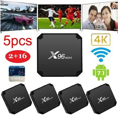 5Pcs X96 mini Android 7.1 Smart TV Box S905W 2GB 16GB 4K WiFi Media Player T3B6C