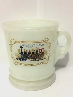 Vintage AVON Shaving Mug with Train Milk Glass Vanity