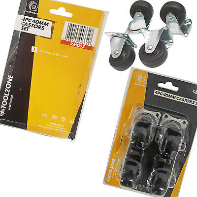 40mm Castor Wheels. Furniture Caster Wheels 2 Fixed Castors 2 Swivel Castors