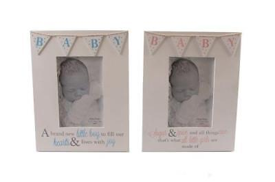 BNWT Baby Girl Shabby Chic Wooden Bunting Photo Frame with Poem Pink 35x25cm