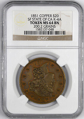 1851 Copper San Francisco State Of CA K-4A Token $20 - NGC MS64 BN -