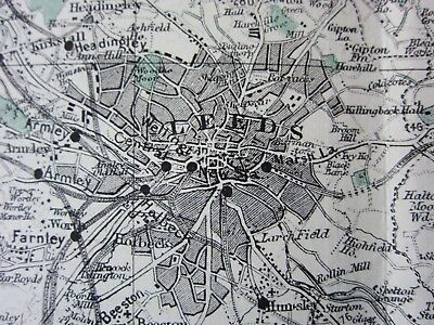 c1898 ANTIQUE MAP MANUFACTURING DISTRICT YORKSHIRE YORK LEEDS BRADFORD RAILWAY