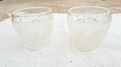 1920's VINTAGE CLEAR GLASS UNIQUE DESIGN CARNIVAL PAIR OF WHISKY TUMBLER, JAPAN