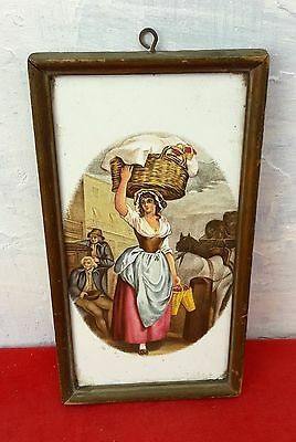 1940's VINTAGE VERY RARE BEAUTIFUL ENGLISH SUBJECT WELL FRAMED TILE