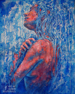 Traditional painting of woman - Acrylic paint on canvas 19,5 x 15,5 Inch
