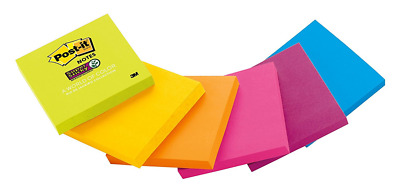 Post-it Super Sticky Notes, 3 x 3-Inches, Assorted Bright Colors, 1-Pad/Pack