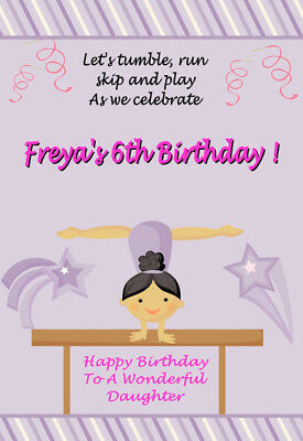 GYMNASTICS Personalised Birthday Card! GREAT!! ANY NAME / AGE / RELATION 3