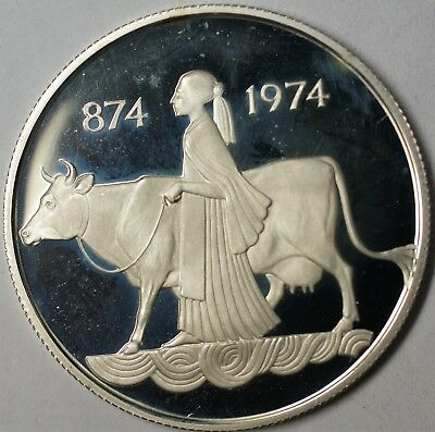 874-1974 Iceland 500 Kronur Commemorative Woman and Cow Silver Proof Coin