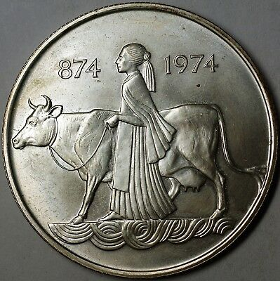 874-1974 Iceland 500 Kronur Commemorative Woman and Cow Silver Uncirculated Coin
