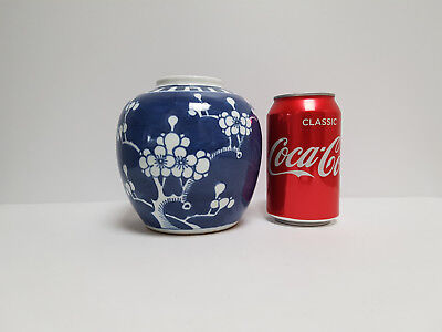 Antique Chinese Blue & White Small Prunus Ginger Jar