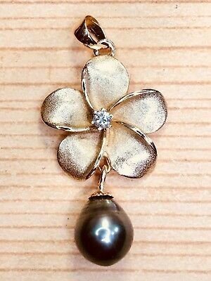 Beautiful Large Solid 14K Gold Diamond & Pearl Plumaria Flower Charm, Pendant