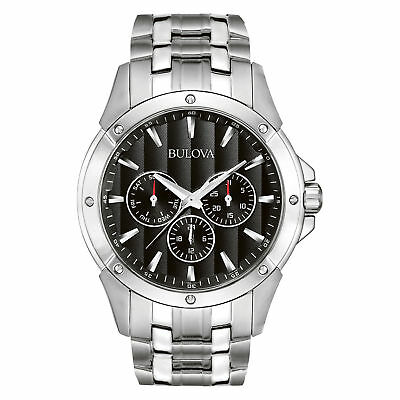 Bulova Mens 96C107 Dress Chrono Black Dial Stainless Steel Bracelet Quartz Watch