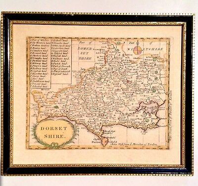 Antique Map Of Dorsetshire Dorset England 1770's