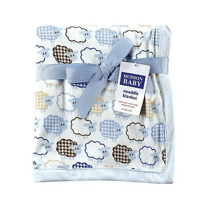 Hudson Baby Sheep Printed Blanket with Plush Backing, Blue (Discontinued by M...