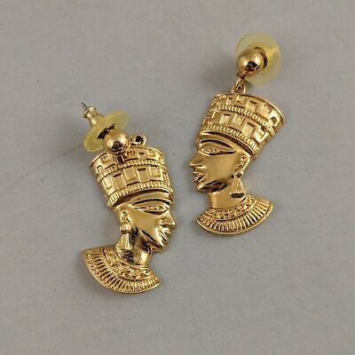 Vintage Avon Earrings Egyptian Queen Nefertiti Bust Gold Tone Dangle Pierced